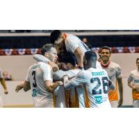 The Florida Tropics celebrate a goal vs. the St. Louis Ambush