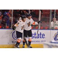 Greenville Swamp Rabbits react after a goal