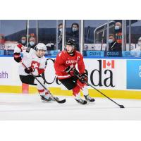 Vancouver Giants defenceman Bowen Byram skating with Canada