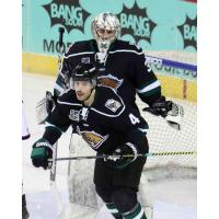 Utah Grizzlies defenseman Alex Lepkowski and goaltender Brad Barone
