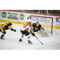 Lehigh Valley Phantoms forward Tanner Laczynski takes a shot against the Wilkes-Barre/Scranton Penguins