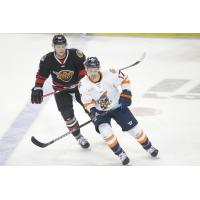 Greenville Swamp Rabbits forward Patrick Bajkov (right) vs. the Indy Fuel