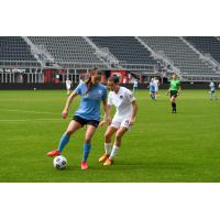 Erica Skroski of Sky Blue FC (left) and Kelley O'Hara of the Washington Spirit