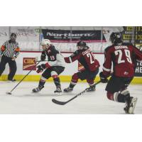 Prince George Cougars battle the Vancouver Giants