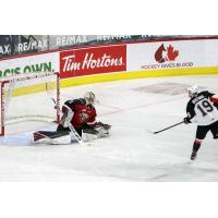 Ethan Browne of the Prince George Cougars hits the post in the shootout against the Vancouver Giants