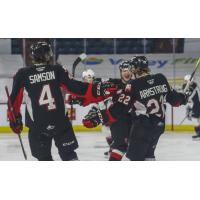 Prince George Cougars centre Craig Armstrong celebrates his goal against the Vancouver Giants
