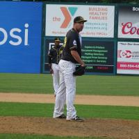 Pitcher Jim Fuller with the New Britain Bees