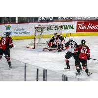 Prince George Cougars goaltender Taylor Gauthier makes a save vs. the Vancouver Giants