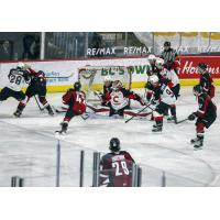 Prince George Cougars defend the goal vs. the Vancouver Giants
