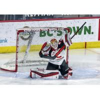 Prince George Cougars goaltender Taylor Gauthier blocks a shot vs. the Vancouver Giants