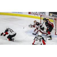 Prince George Cougars goaltender Taylor Gauthier eyes the puck vs. the Vancouver Giants