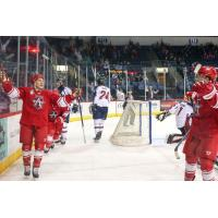 Allen Americans celebrate a goal against the Tulsa Oilers