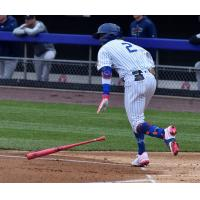 Jake Hager of the Syracuse Mets reached base six times on Sunday afternoon