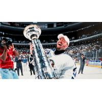 Orlando Solar Bears goaltender Norm Maracle lifts the Turner Cup