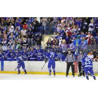 The Wichita Thunder crowd cheers on the team after a goal