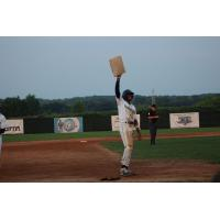 Chandler Simpson of the Fond du Lac Dock Spiders celebrates his stolen base record