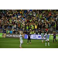 Raul Ruidiaz of Seattle Sounders FC exhorts the crowd after his goal against Santos Laguna